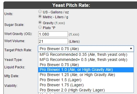 Yeast Pitch Rate